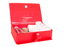 First-Aid kit stocked with essential elements Stock Photo