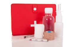 First-Aid kit stocked with essential elements Stock Image