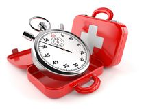 First aid kit with stopwatch. On white background Stock Photos