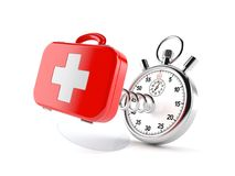 First aid kit with stopwatch. Isolated on white background Royalty Free Stock Photos