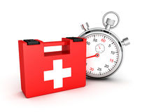 First aid kit with stopwatch on white background. 3d render illustration Stock Photo