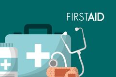 First aid kit medical health. First aid kit suitcase stethoscope bottle and plaster medical health vector illustration Royalty Free Stock Photo