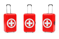 First Aid Kit Suitcases. 3d Rendering. First Aid Kit Suitcases on a white background. 3d Rendering Stock Photo