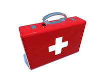 First aid kit swiss. First aid kit with swiss flag on white Stock Photos