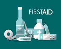 First aid kit medical health. First aid kit syringe capsule pills band thermometer scissor bottle health vector illustration Royalty Free Stock Images