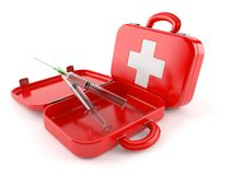 First aid kit with syringe. Isolated on white background Royalty Free Stock Photography