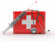 First aid kit, syringe and stethscope. 3d Royalty Free Stock Images