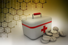 First aid kit with tablet medicines. In color background Stock Images