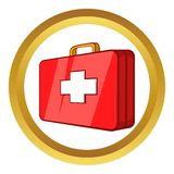 First aid kit vector icon. In golden circle, cartoon style isolated on white background Royalty Free Stock Photo