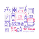 First aid kit. Vector set of first aid kit box , medical equipment and medications for emergency isolated in white background. Top view. Medical icons set in Stock Photo