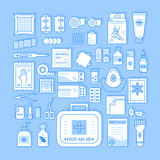 First aid kit. Vector set of first aid kit box , medical equipment and medications for emergency isolated in white background. Top view. Medical icons set in Royalty Free Stock Photos