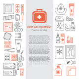 First aid kit. Vector set of first aid kit box , medical equipment and medications for emergency isolated in white background. Vector illustration with place for Royalty Free Stock Photos