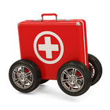 First Aid Kit on Wheels. On white background Stock Image