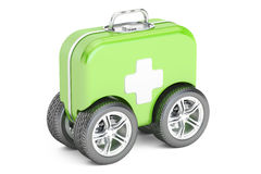 First Aid Kit on Wheels. First Aid concept. 3D rendering. On white background Stock Images