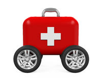 First Aid Kit on Wheels. Isolated on white background. 3D render Royalty Free Stock Image