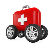 First Aid Kit on Wheels. Isolated on white background. 3D render Stock Photos