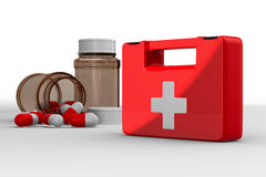 First aid kit on white background. Isolated 3D image Stock Images