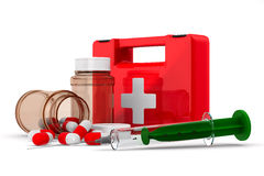 First aid kit on white background. Isolated 3D image Royalty Free Stock Photos