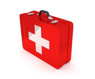 First aid kit on a white background. 3D render. First aid kit on a white background Stock Photo