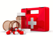 First aid kit on white background. Isolated 3D Stock Images