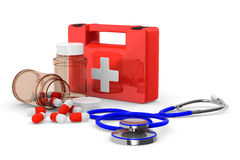 First aid kit on white background. Isolated 3D Stock Photography