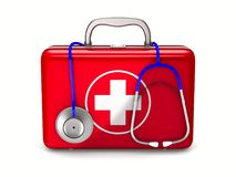 First aid kit on white background. Isolated 3D illustration.  Stock Photography