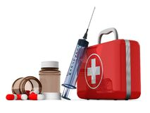 First aid kit on white background. Isolated 3D illustration.  Royalty Free Stock Photography