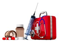 First aid kit on white background. Isolated 3D illustration.  Royalty Free Stock Image