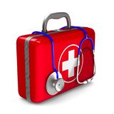 First aid kit on white background. Isolated 3D illustration.  Royalty Free Stock Photos