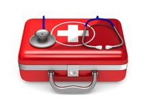 First aid kit on white background. Isolated 3D illustration.  Stock Image