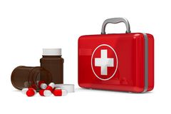 First aid kit on white background. Isolated 3D illustration Stock Photography