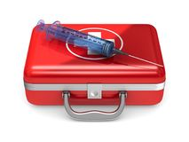 First aid kit on white background. Isolated 3D illustration.  Stock Photos