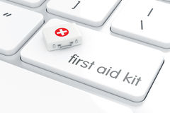 First aid kit on the white computer keyboard enter button. Compu. 3d render of first aid kit on the white computer keyboard enter button. Computer support Stock Photo