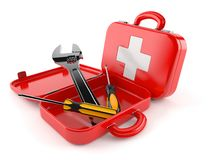 First aid kit with work tools Stock Images