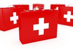 First aid kits. Group of first aid kits. Very shallow DOF Stock Images