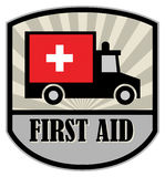 First Aid label. With ambulance car Royalty Free Stock Images