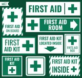 First aid label set. First aid sign and label set, vector illustration Royalty Free Stock Photography