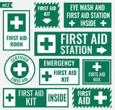 First aid label. First aid sign and label set, vector illustration Royalty Free Stock Photography