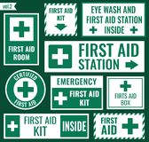 First aid sign set. First aid label and sign set, vector illustration Royalty Free Stock Photography