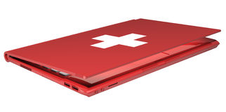 First aid laptop. Closed first aid laptop with white cross on the cover Royalty Free Stock Images