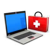 First Aid Laptop. First aid case with laptop  on the white background Stock Images