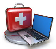 First aid for laptop. In the design of information related to technical support Stock Photo