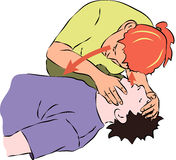 First aid - listening for breath from unconscious man. Vector Stock Photos