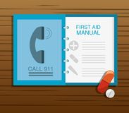 First aid manual with pill and drug. Vector illustration Royalty Free Stock Photos
