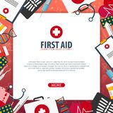 First Aid. Medical banner. Health care. Vector medicine illustration. First Aid. Medical banner. Health care. Vector medicine illustration Stock Photography