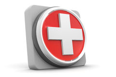 First aid medical button. 3d render of First aid medical button Royalty Free Stock Photo