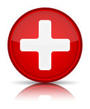 First aid medical button sign. With reflection isolated on white. Vector illustration Stock Image