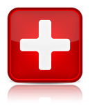 First aid medical button sign with reflection isol Royalty Free Stock Photo