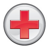 First Aid Medical Cross Button Stock Photo