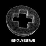 First aid medical cross wireframe. Low poly mesh, vector symbol illustration Stock Photo